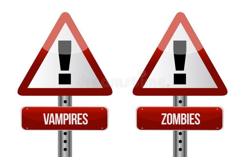Akta sig av vampyr- och levande dödillustration royaltyfri illustrationer