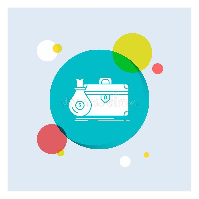 Aktenkoffer, Geschäft, Fall, offen, Portfolio weiße Glyph-Ikonen-bunter Kreis-Hintergrund stock abbildung