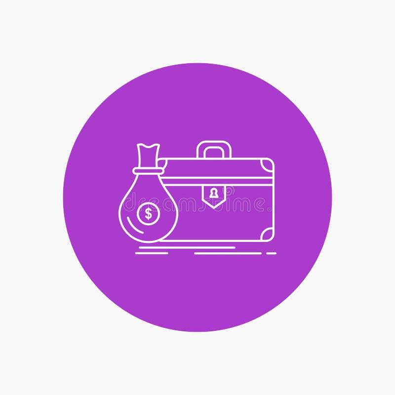 Aktenkoffer, Geschäft, Fall, offen, Portfolio weiße Linie Ikone im Kreishintergrund Vektorikonenillustration lizenzfreie abbildung