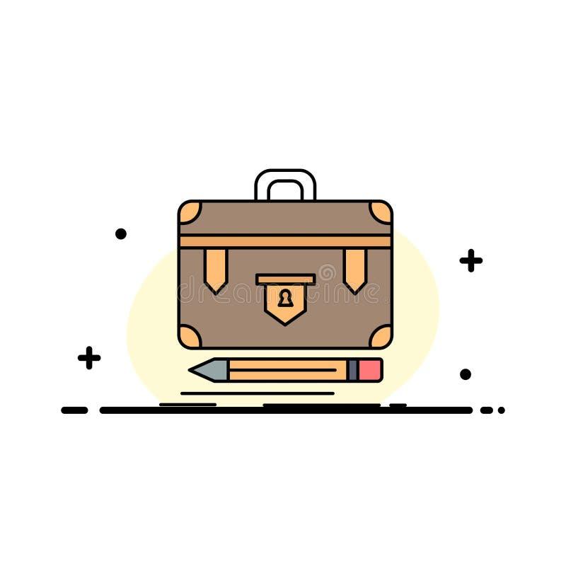 Aktenkoffer, Geschäft, finanziell, Management, Portfolio flacher Farbikonen-Vektor lizenzfreie abbildung