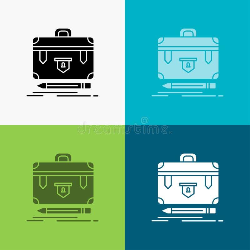 Aktenkoffer, Geschäft, finanziell, Management, Portfolio Ikone über verschiedenem Hintergrund Glyphartdesign, bestimmt f?r Netz u stock abbildung
