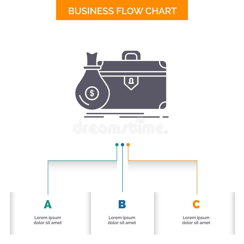 Aktenkoffer, Gesch?ft, Fall, offen, Portfolio Gesch?fts-Flussdiagramm-Entwurf mit 3 Schritten Glyph-Ikone f?r Darstellungs-Hinter vektor abbildung