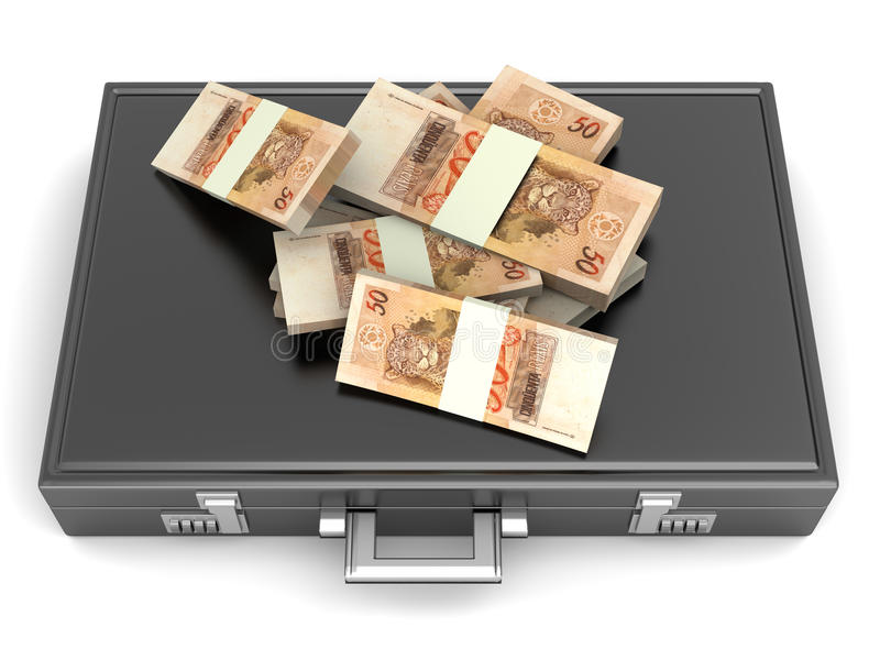 Aktenkoffer mit Bargeld stock abbildung