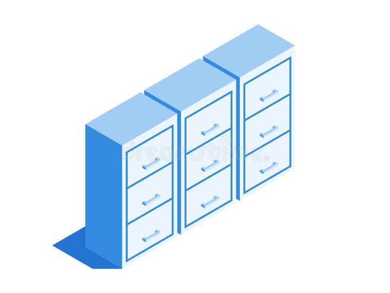Aktenschrank, Archiv der Dokumentenikone Isometrische Schablone für Webdesign in der flachen Art 3D Auch im corel abgehobenen Bet stock abbildung