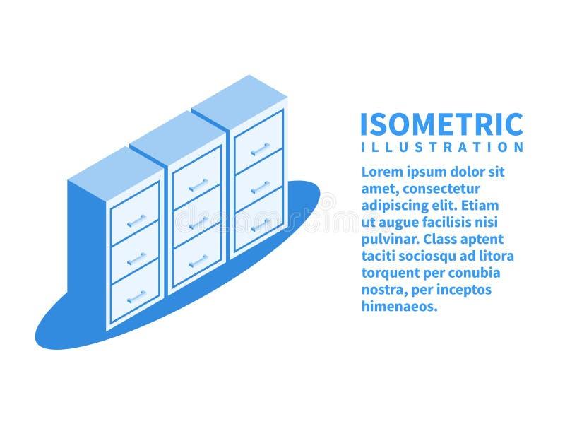Aktenschrank, Archiv der Dokumentenikone Isometrische Schablone in der flachen Art 3D Auch im corel abgehobenen Betrag lizenzfreie abbildung