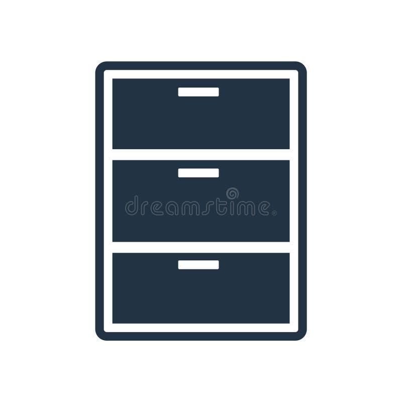 Aktenschrankikonenvektor lokalisiert auf weißem Hintergrund, Archivierung stock abbildung