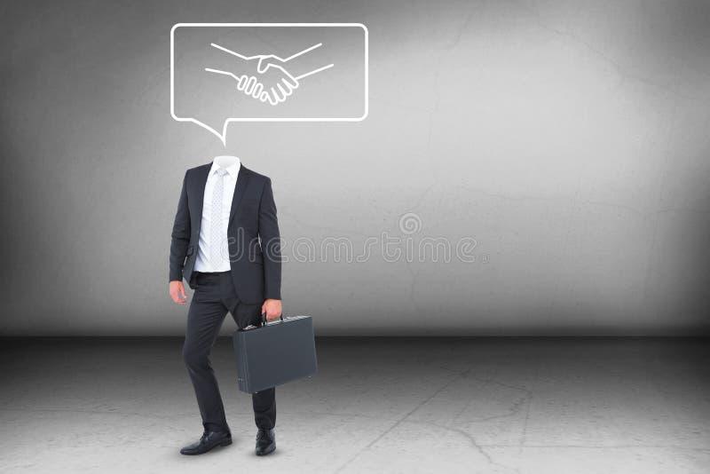 Aktentas de zonder hoofd van de zakenmanholding royalty-vrije stock afbeelding