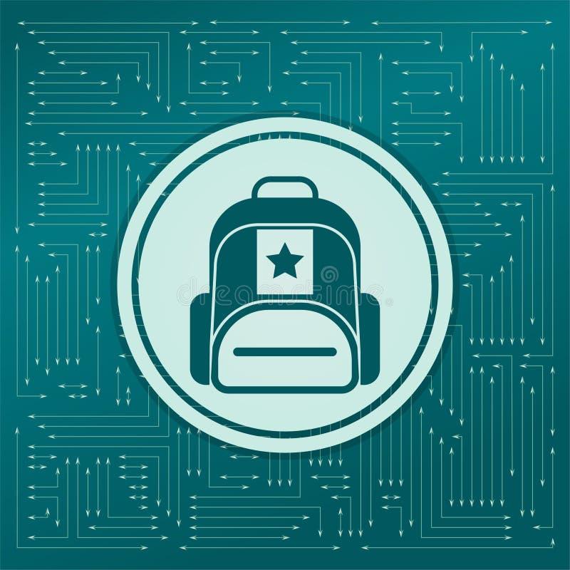 Aktentas, geval, zakpictogram op een groene achtergrond, met pijlen in verschillende richtingen Het lijkt de elektronische raad vector illustratie