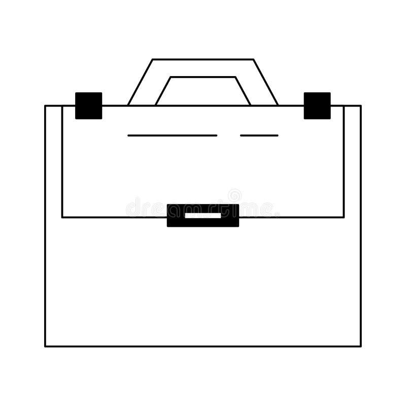 Aktentas met handvat wordt in zwart-wit wordt ge?soleerd verzegeld die vector illustratie