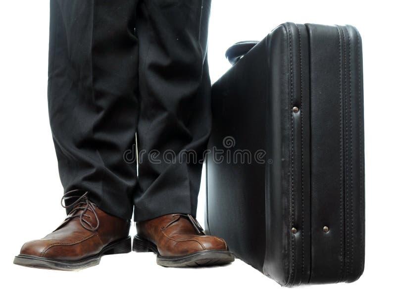 Aktentas naast schoenen royalty-vrije stock afbeeldingen