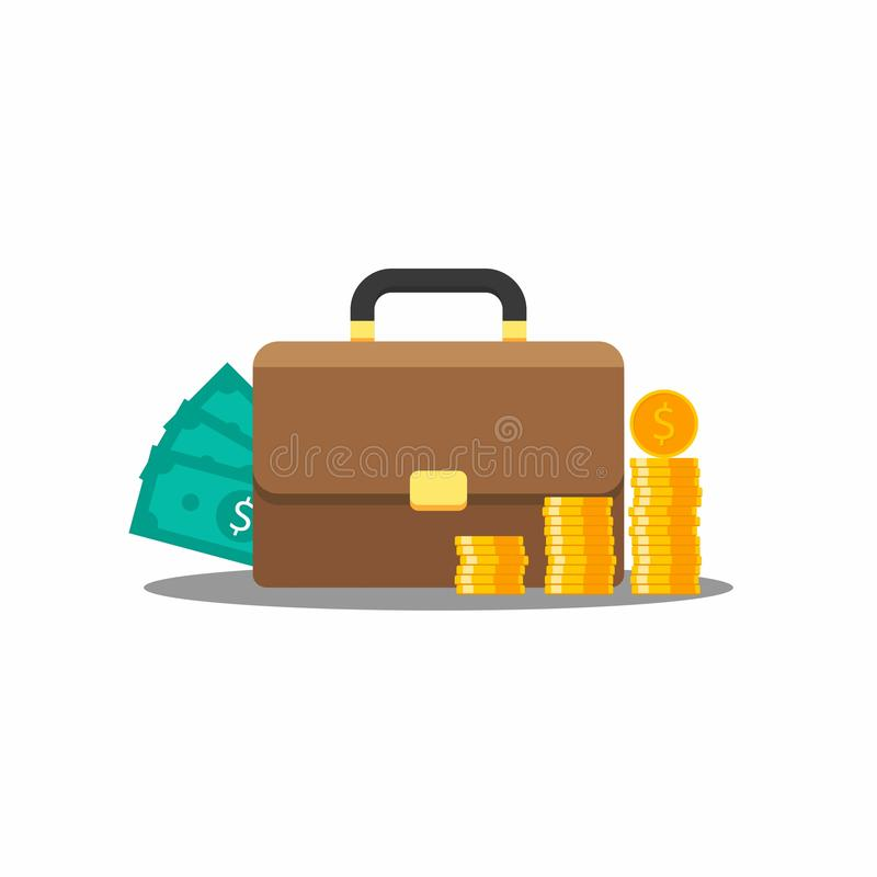 Aktentas, Zak, Muntstuk, Dollar, Vector, Vlak pictogram vector illustratie