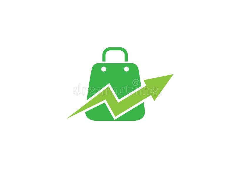 Aktentassen een handtas voor het winkelen met vinkje voor de illustratie van het embleemontwerp royalty-vrije illustratie