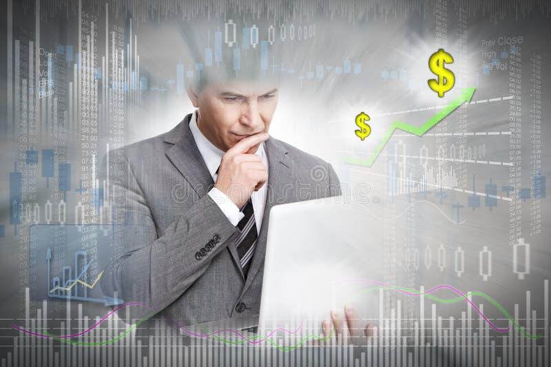 Aktieägare med bärbar datordatoren stock illustrationer