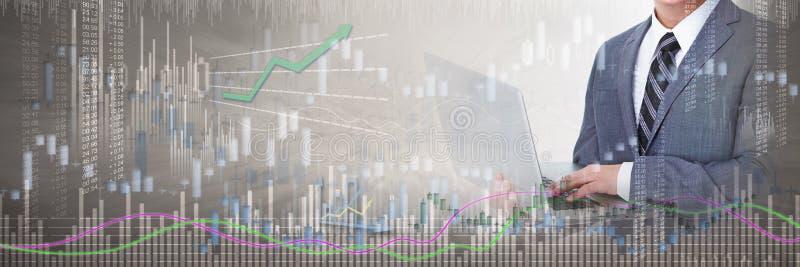 Aktieägare med bärbar datordatoren vektor illustrationer