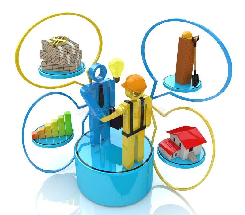 Aktieägaremöte med byggmästaren vektor illustrationer