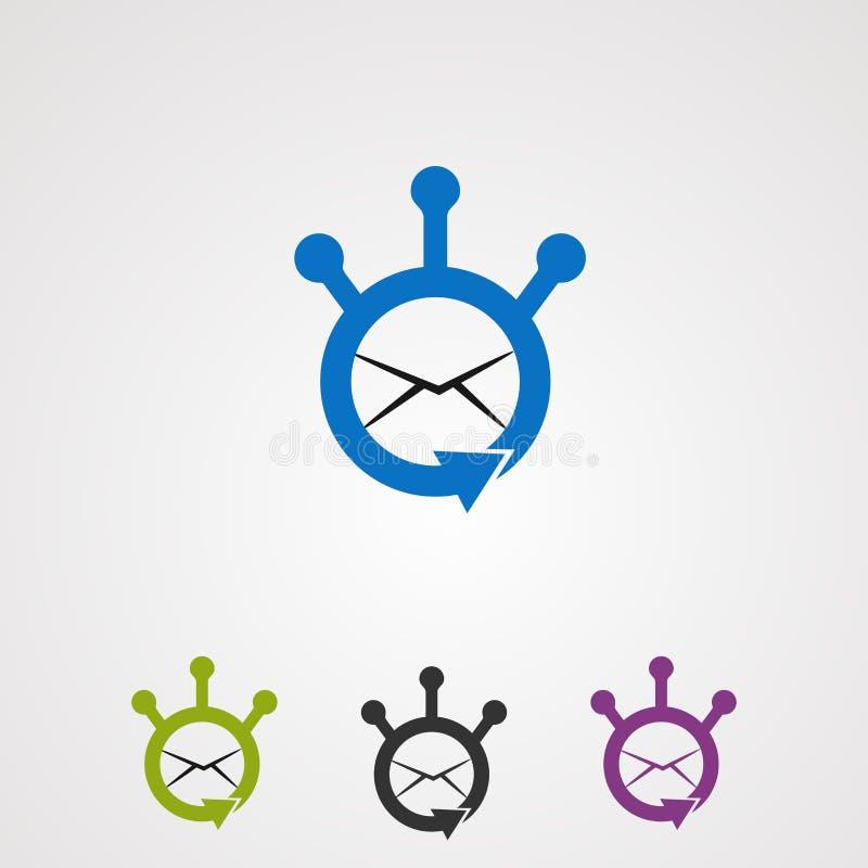 Aktieemail med vektorn, symbolen, beståndsdelen och mallen för cirkelbegreppslogo för företag stock illustrationer