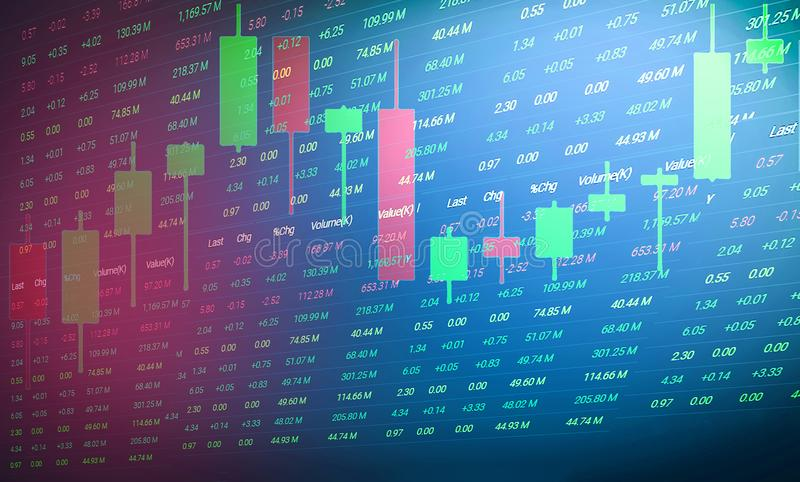 Aktiemarknad- eller forexhandelgraf och ljusstakediagram/investera och aktiemarknad vektor illustrationer