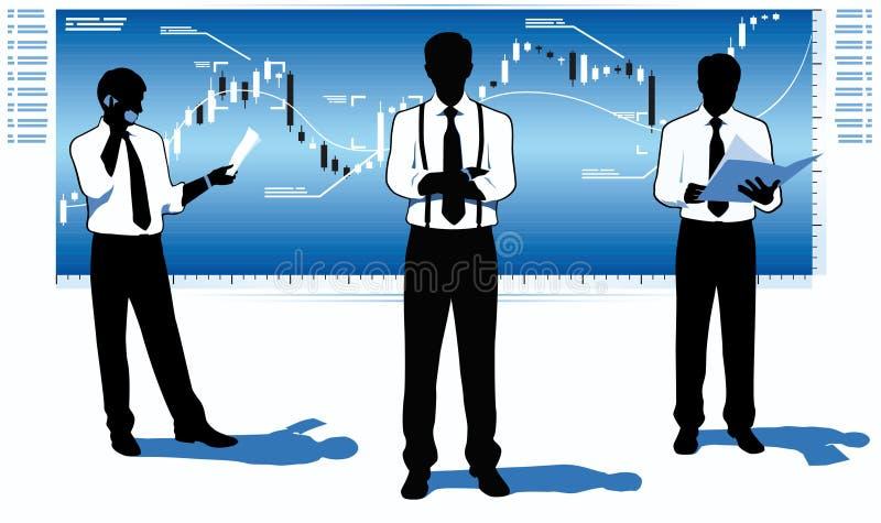 Aktiemarknadaffärsmän stock illustrationer