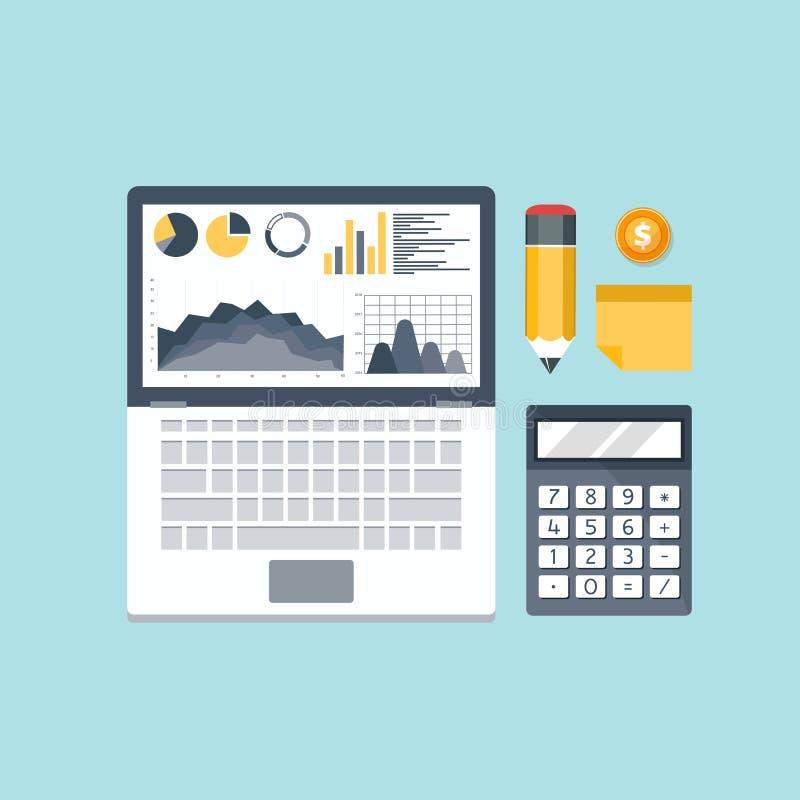 Aktiemarknadanalys, finans Pengar som investerar, världsekonomi, bankverksamhet inom huvudsakligen värdepappershandel, marknadsny stock illustrationer