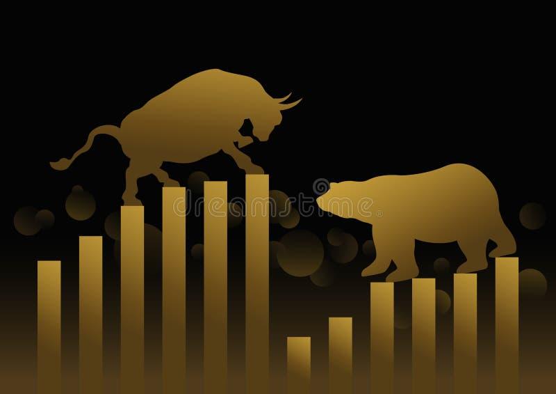 Aktiemarknadbegreppsdesign av den guld- tjuren och björnen med grafen royaltyfri illustrationer