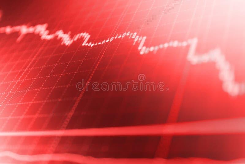 Aktiemarknadcitationstecken på skärm Att investera och begreppet vinner, och vinster med den urblekta ljusstaken kartlägger royaltyfri bild
