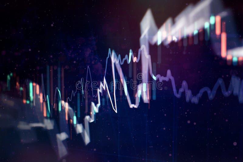 Aktiemarknaddiagram Bakgrund för affärsgraf Forexhandel affärsidé i färg royaltyfri illustrationer