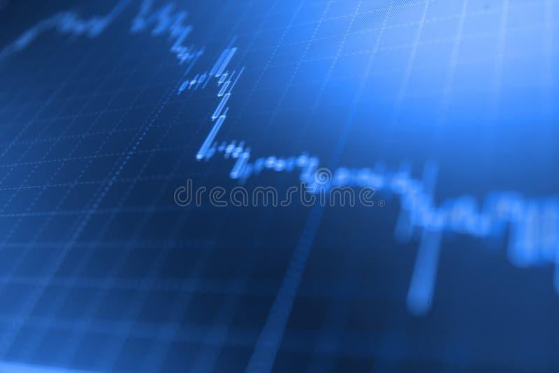 Aktiemarknaddiagram, graf på blå bakgrund Aktiemarknad och annan finansteman Marknadsrapport på blå bakgrund Blå backg royaltyfri bild