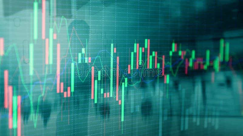 Aktiemarknaden citerar grafen Aff?rskvinna f?r dubbel exponering och aktiemarknad- eller forexgraf som ?r passande f?r finansiell royaltyfri illustrationer