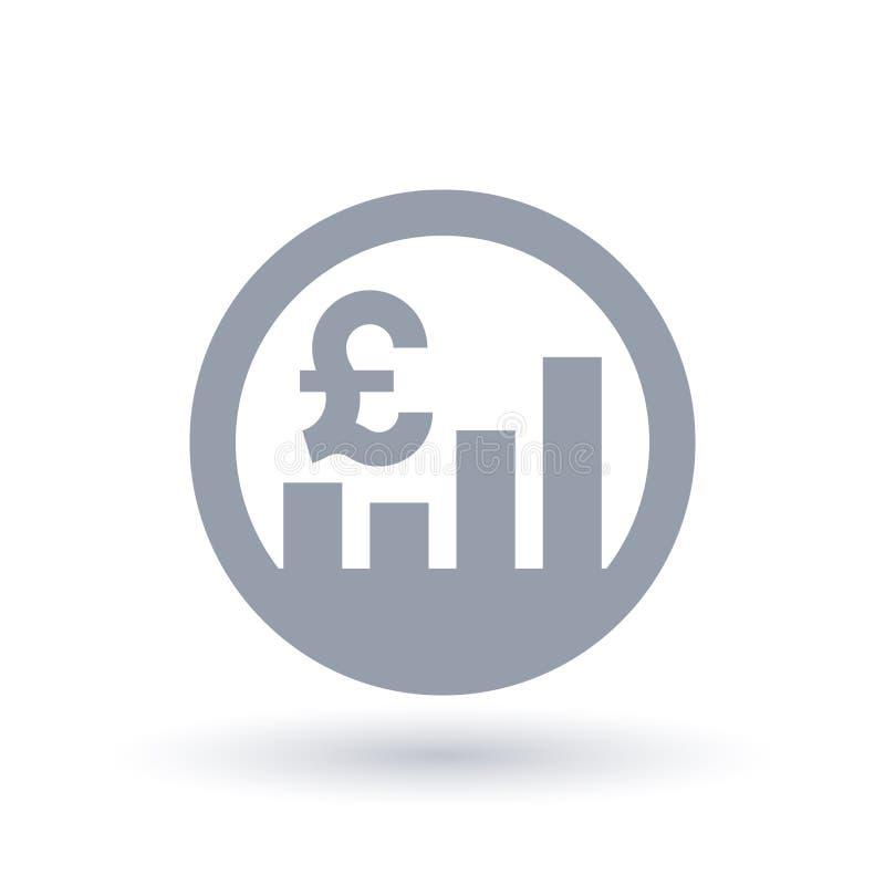 Aktiemarknadsymbol för brittiskt pund - Storbritannien valutaexchang royaltyfri illustrationer