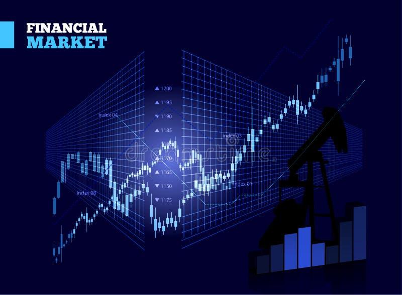 Aktiemarknadvektordiagram vektor illustrationer