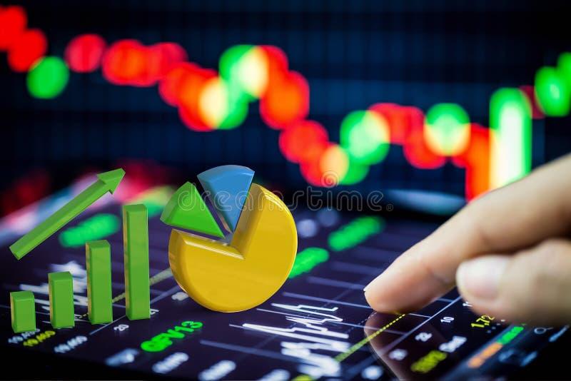 Aktienanalyse mit Wachstumsdiagramm und Kreisdiagramm stockfoto