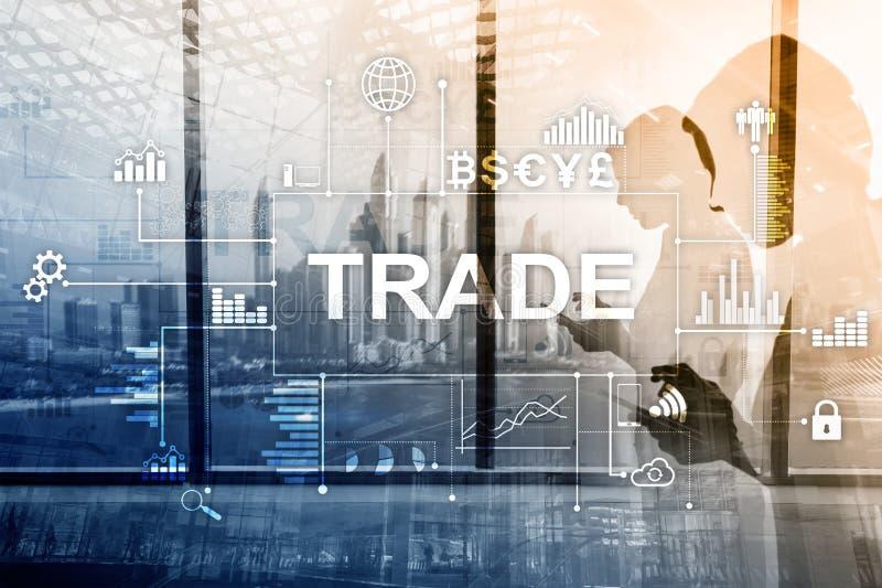 Aktienhandelkerzenständerdiagramm und -diagramme auf unscharfem Büromittehintergrund vektor abbildung