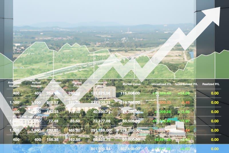 Aktienindexfinanzshowvision des erfolgreichen Investitionswachstums auf Transportgeschäft lizenzfreie stockfotos