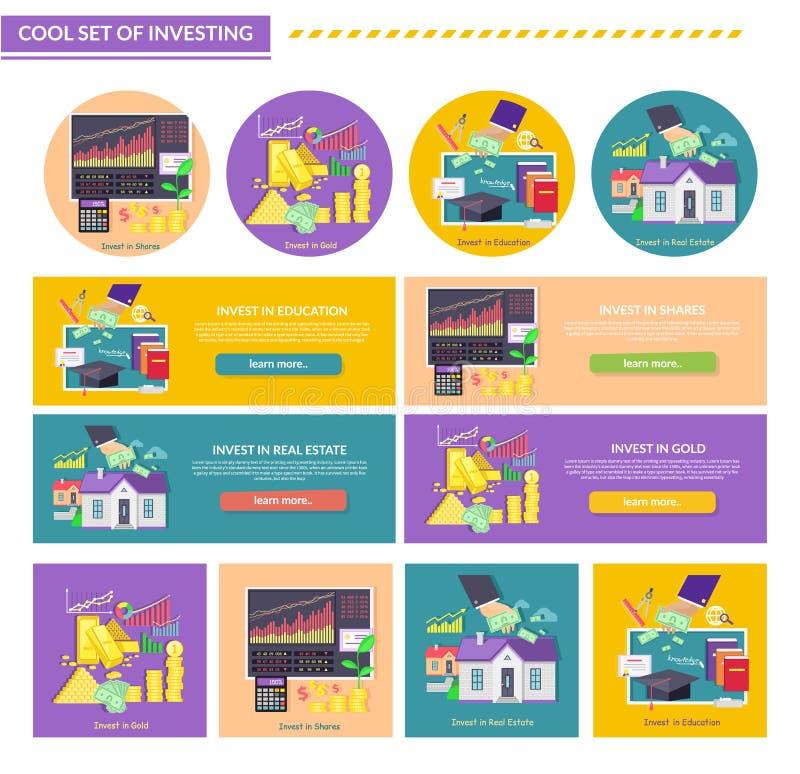 Aktier för egenskap för utbildning för begreppsinvestering guld- royaltyfri illustrationer