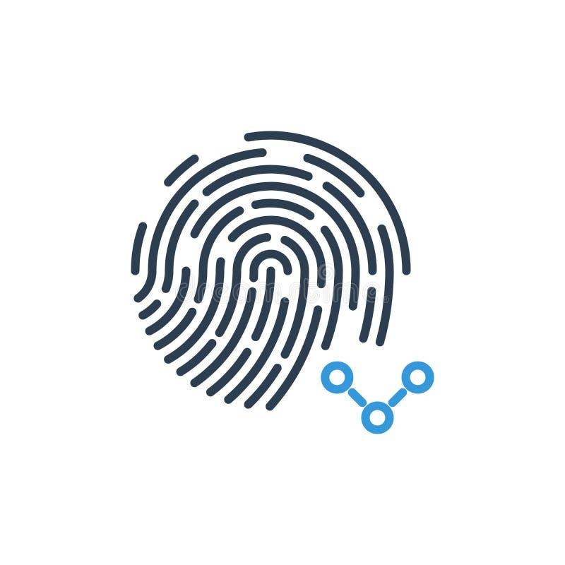 Aktieteckensymbol och fingeravtrycksäkerhetsvektor royaltyfri illustrationer