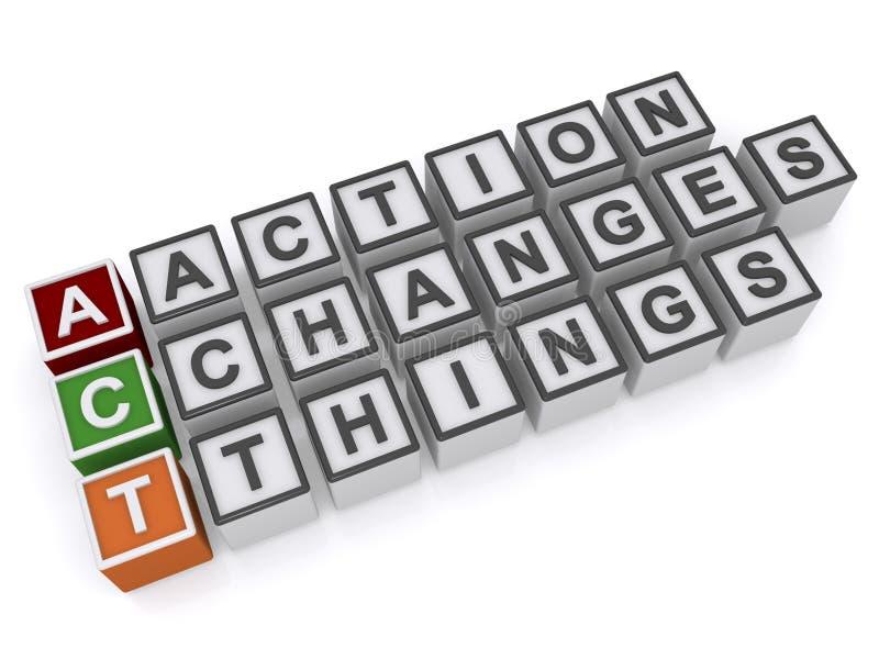 Aktion ändert Sachen stock abbildung