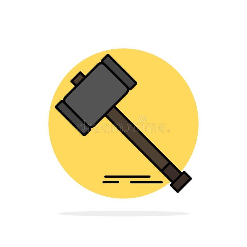Aktion, Auktion, Gericht, Hammer, Hammer, Gesetz, flache Ikone Farbe des legalen abstrakten Kreis-Hintergrundes vektor abbildung