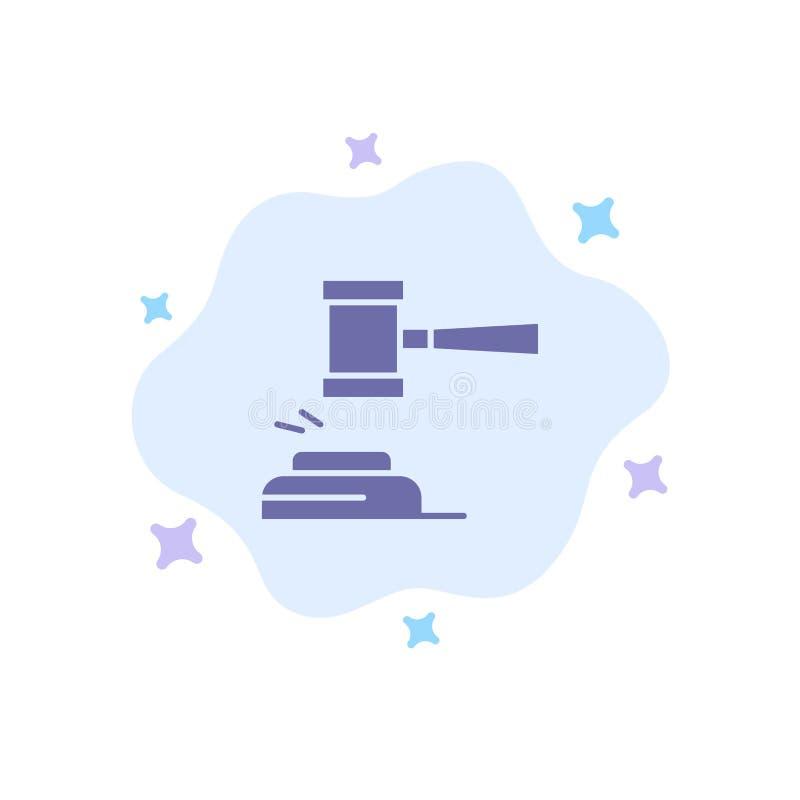 Aktion, Auktion, Gericht, Hammer, Hammer, Richter, Gesetz, legale blaue Ikone auf abstraktem Wolken-Hintergrund vektor abbildung
