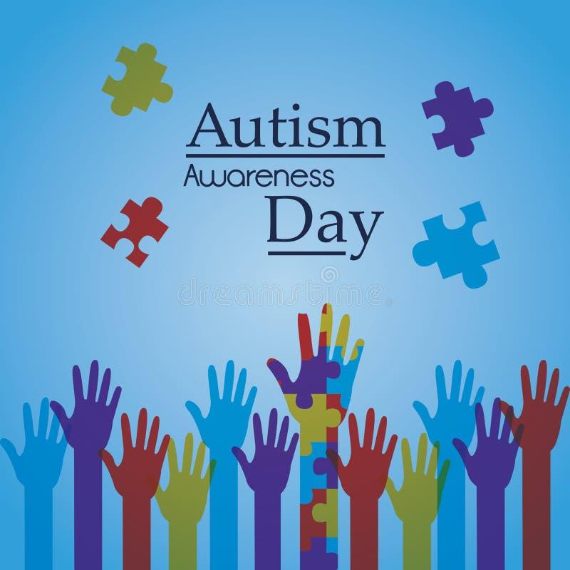 Aktion för affisch för autismmedvetenhetdag idérik vektor illustrationer