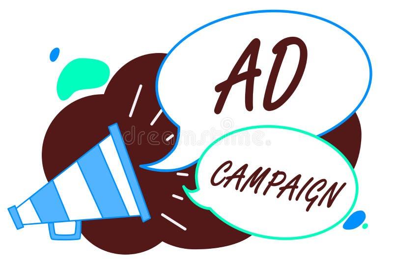 Aktion för annons för ordhandstiltext Affärsidé för befordran av den specifika produkten eller service till och med internetmegaf vektor illustrationer