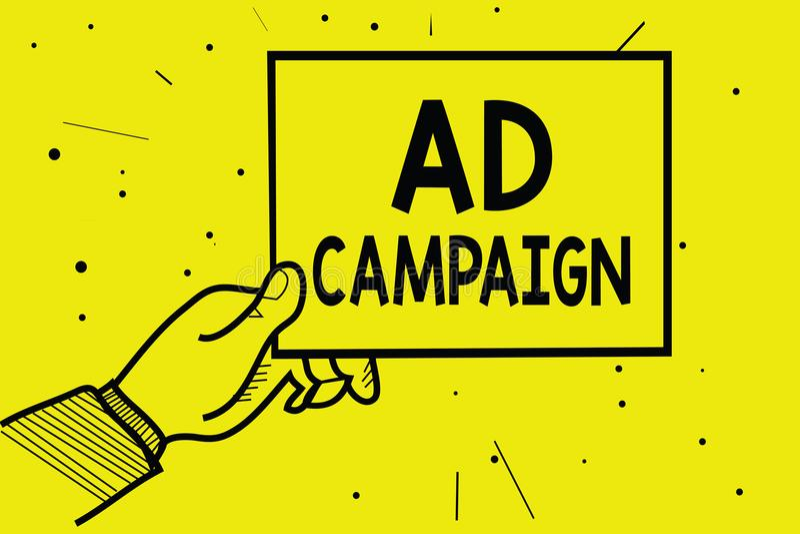 Aktion för annons för ordhandstiltext Affärsidé för befordran av den specifika produkten eller service till och med hållande väll vektor illustrationer