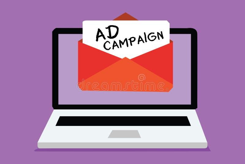 Aktion för annons för ordhandstiltext Affärsidé för befordran av den specifika produkten eller service till och med internetdator stock illustrationer