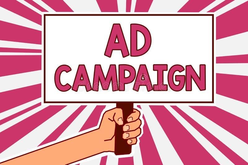 Aktion för annons för ordhandstiltext Affärsidé för befordran av den specifika produkten eller service till och med internetmanha royaltyfri illustrationer