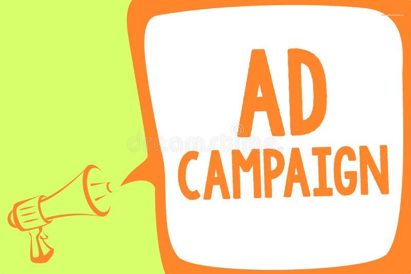 Aktion för annons för textteckenvisning Begreppsmässig fotobefordran av den specifika produkten eller service till och med sp för stock illustrationer