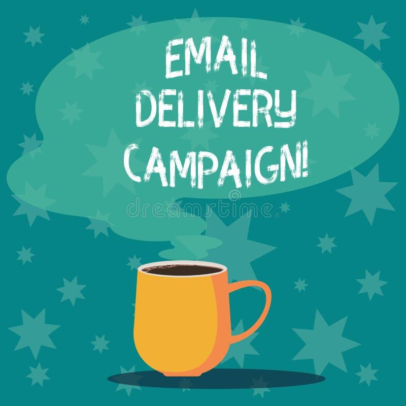 Aktion för leverans för Email för handskrifttexthandstil Begreppsbetydelsen som överför ett kommersiellt meddelande till en grupp royaltyfri illustrationer