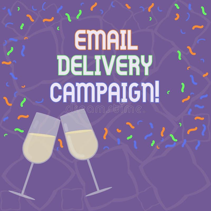 Aktion för leverans för handskrifttextEmail Begreppsbetydelse som överför ett kommersiellt meddelande till en grupp av uppvisning stock illustrationer