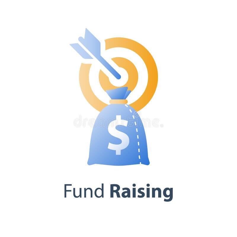 Aktion för lyfta för fond, begrepp för häckfond, investeringidé, finansiell strategi, mål för affärsintäktförhöjning vektor illustrationer