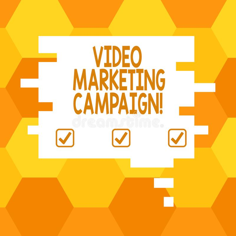 Aktion för marknadsföring för handskrifttext video Begreppsbetydelse som bedömer fördelen av digitalt anförande för aktionmellanr royaltyfri illustrationer
