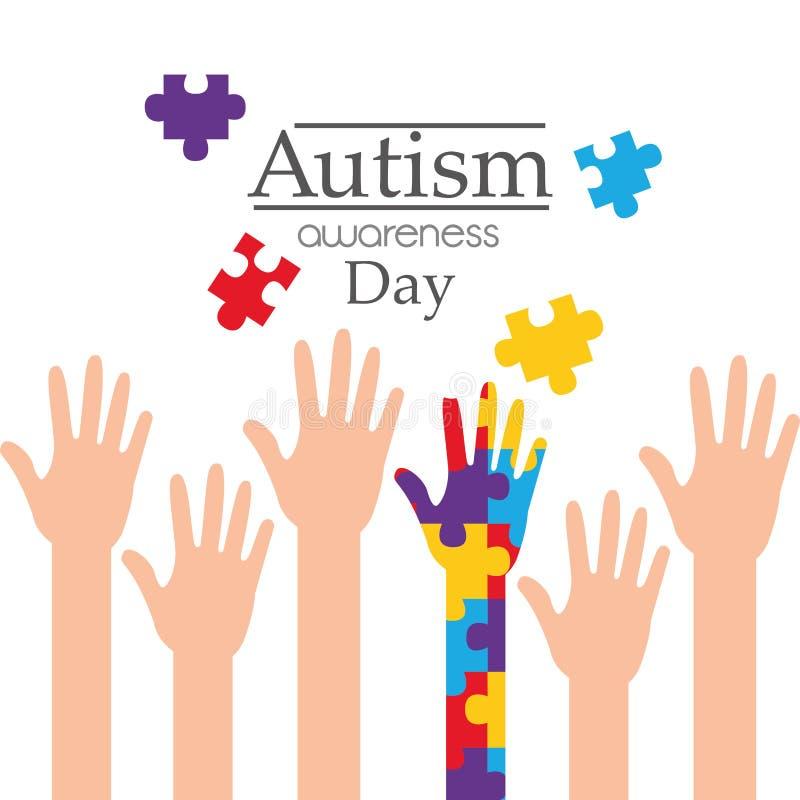 Aktion för service för händer för autismmedvetenhet dag lyftt royaltyfri illustrationer