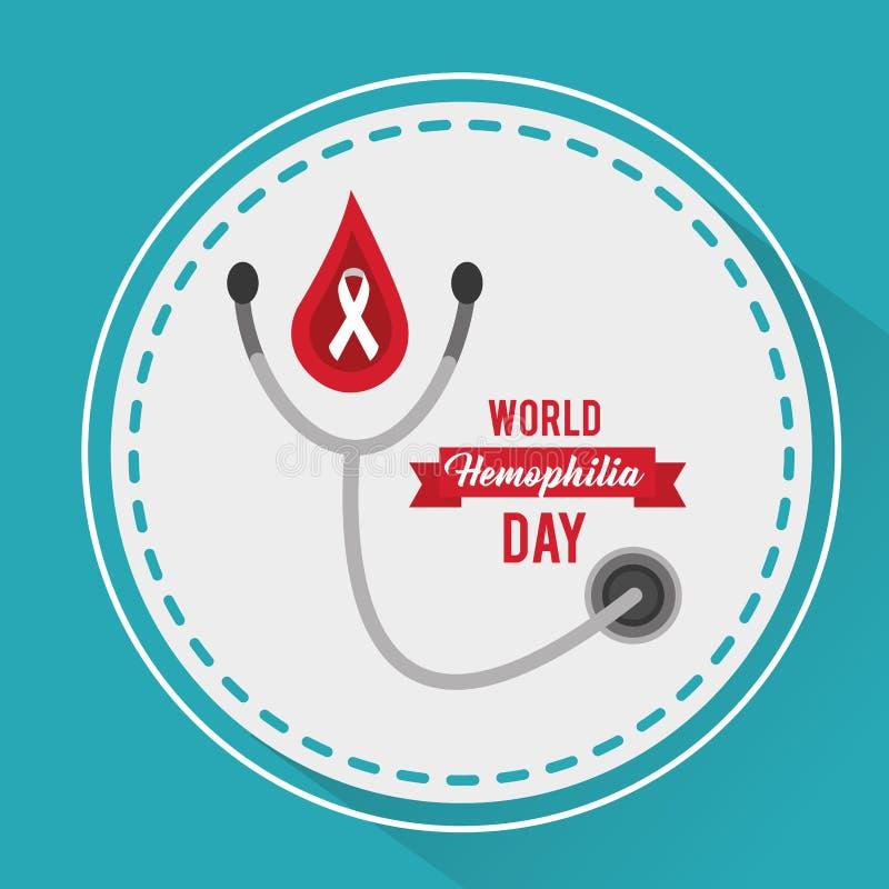 Aktion för stetoskop för världsblödarsjukadag medicinsk stock illustrationer